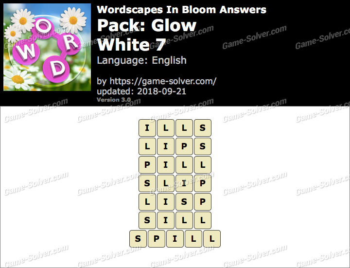 Wordscapes In Bloom Glow-White 7 Answers
