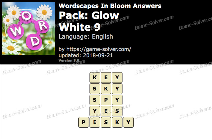Wordscapes In Bloom Glow-White 9 Answers
