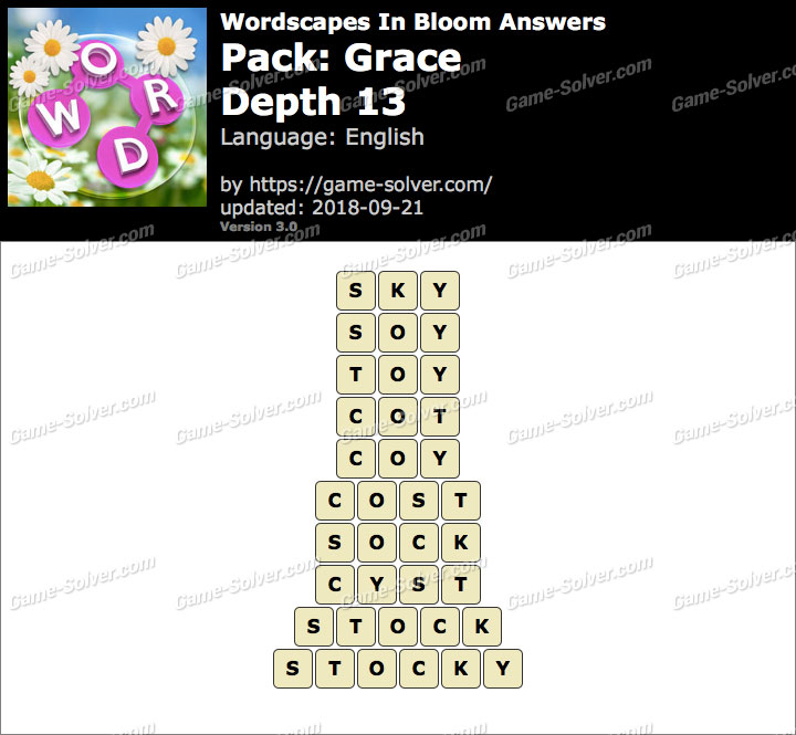 Wordscapes In Bloom Grace-Depth 13 Answers