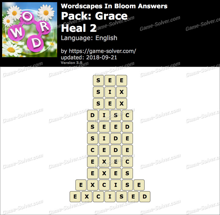 Wordscapes In Bloom Grace-Heal 2 Answers