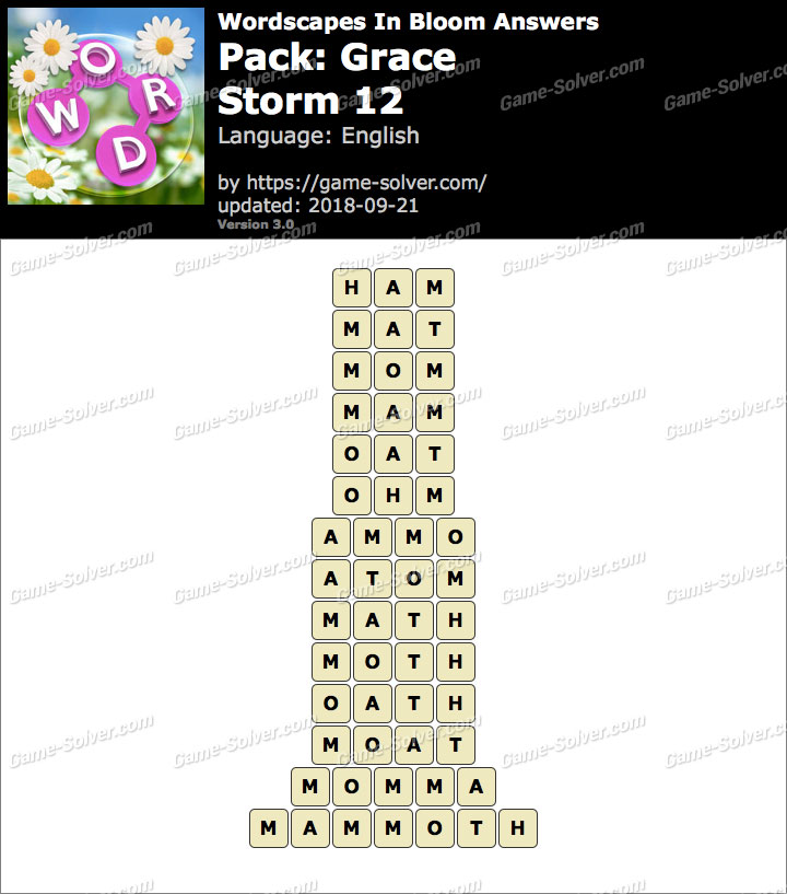 Wordscapes In Bloom Grace-Storm 12 Answers