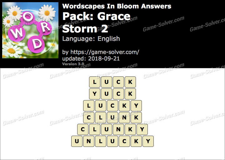Wordscapes In Bloom Grace-Storm 2 Answers