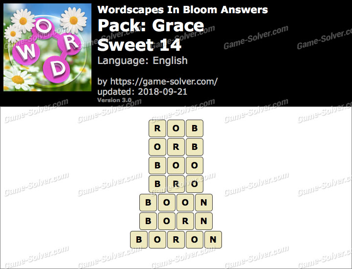 Wordscapes In Bloom Grace-Sweet 14 Answers