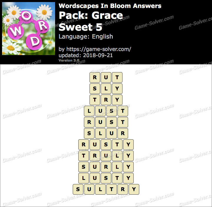Wordscapes In Bloom Grace-Sweet 5 Answers