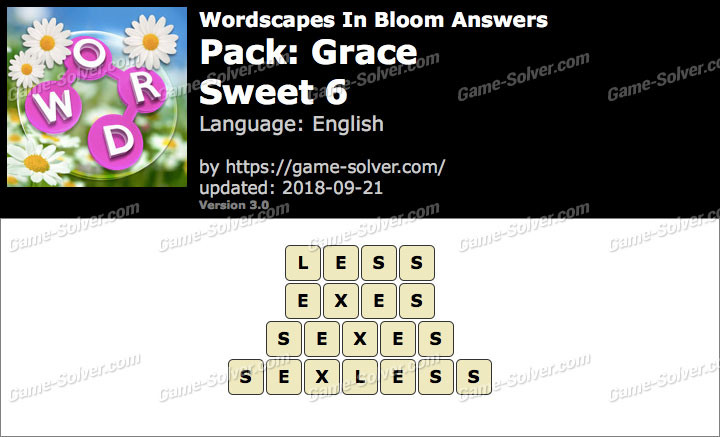 Wordscapes In Bloom Grace-Sweet 6 Answers