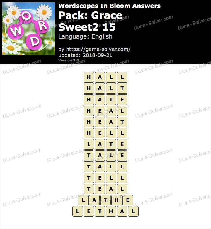 Wordscapes In Bloom Grace-Sweet2 15 Answers