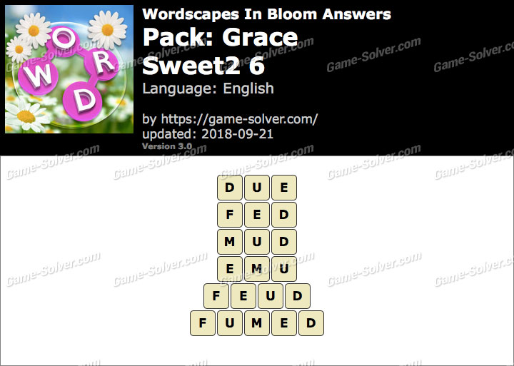 Wordscapes In Bloom Grace-Sweet2 6 Answers