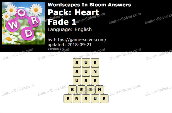 Wordscapes In Bloom Heart-Fade 1 Answers