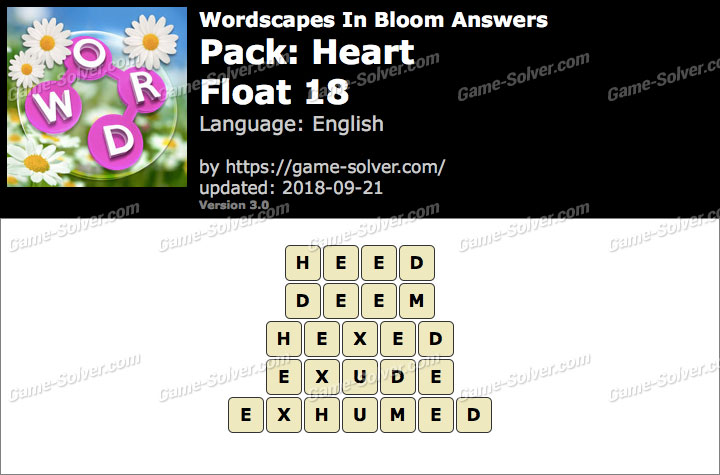 Wordscapes In Bloom Heart-Float 18 Answers