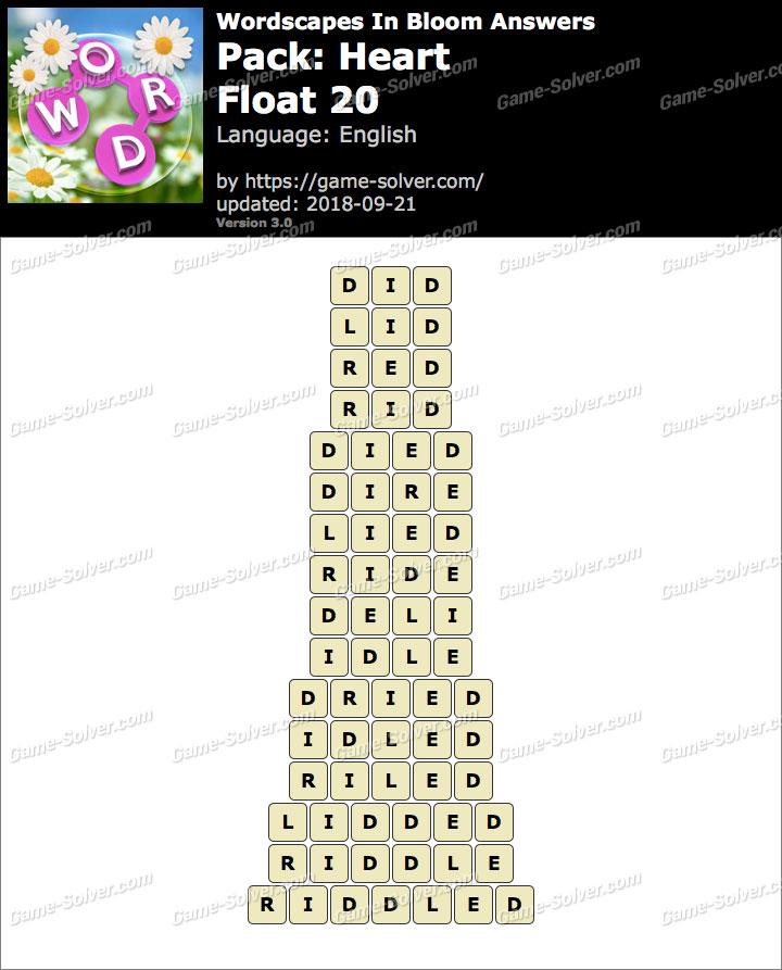 Wordscapes In Bloom Heart-Float 20 Answers