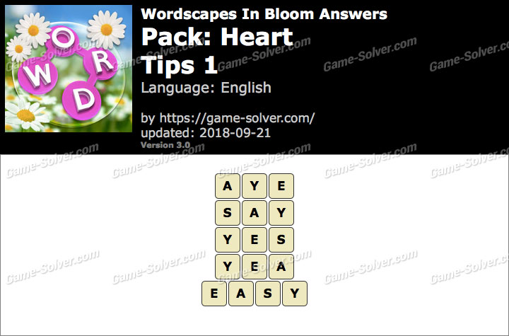 Wordscapes In Bloom Heart-Tips 1 Answers