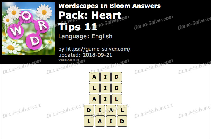 Wordscapes In Bloom Heart-Tips 11 Answers