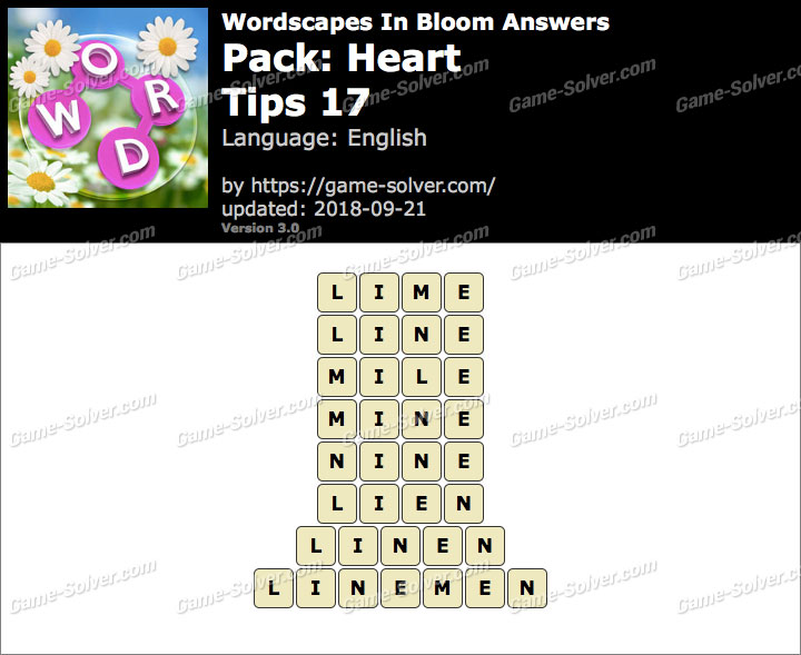 Wordscapes In Bloom Heart-Tips 17 Answers