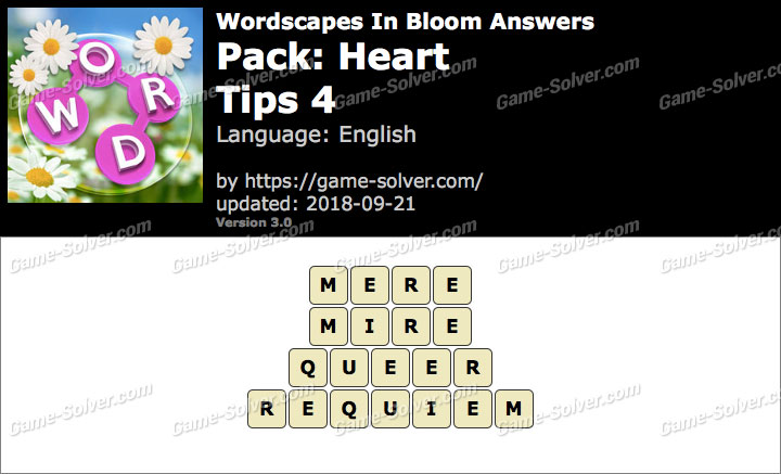 Wordscapes In Bloom Heart-Tips 4 Answers