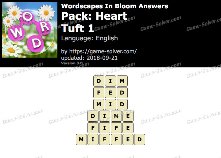 Wordscapes In Bloom Heart-Tuft 1 Answers