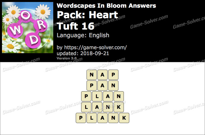 Wordscapes In Bloom Heart-Tuft 16 Answers