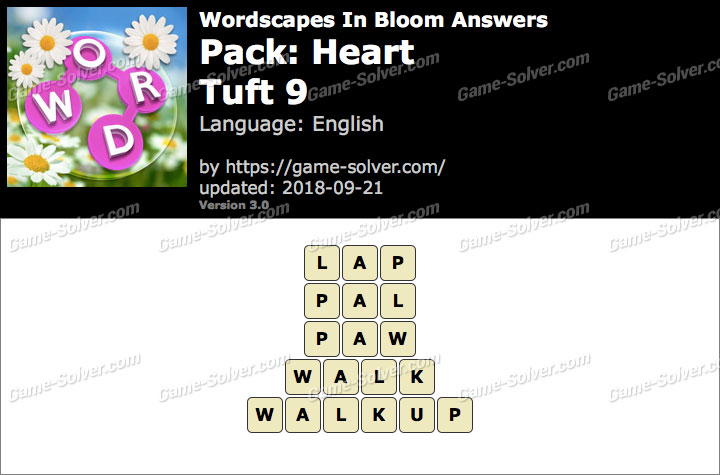 Wordscapes In Bloom Heart-Tuft 9 Answers
