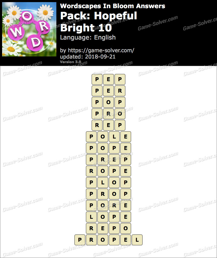 Wordscapes In Bloom Hopeful-Bright 10 Answers
