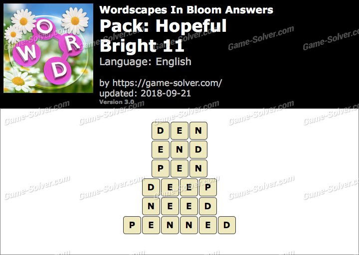Wordscapes In Bloom Hopeful-Bright 11 Answers