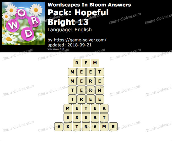 Wordscapes In Bloom Hopeful-Bright 13 Answers