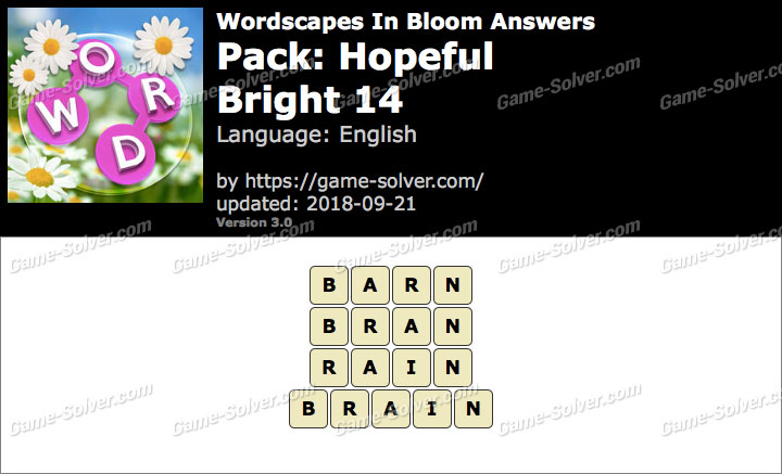 Wordscapes In Bloom Hopeful-Bright 14 Answers