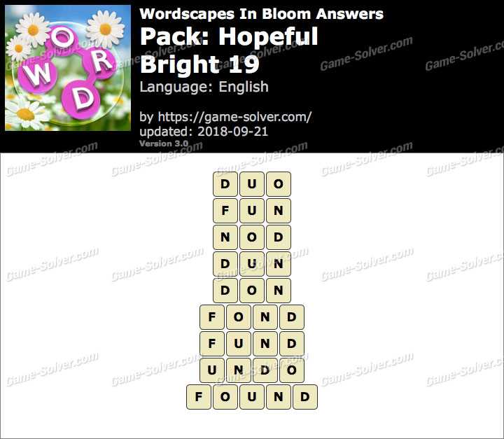 Wordscapes In Bloom Hopeful-Bright 19 Answers