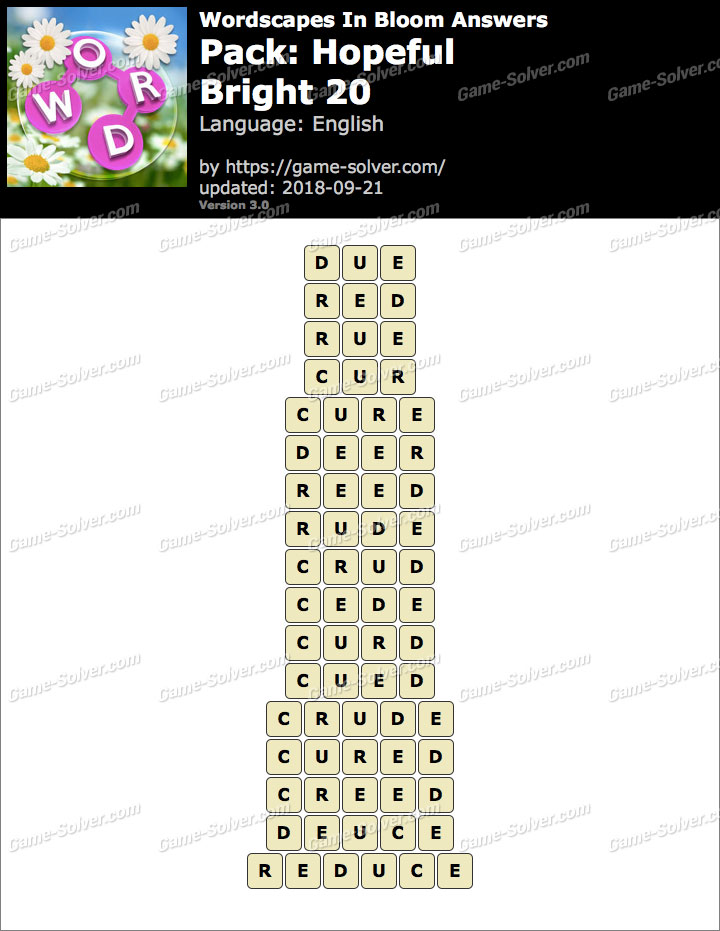 Wordscapes In Bloom Hopeful-Bright 20 Answers