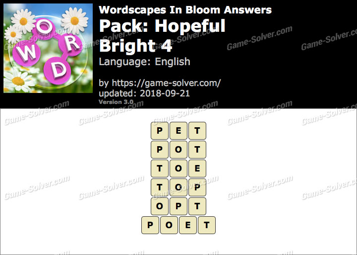 Wordscapes In Bloom Hopeful-Bright 4 Answers