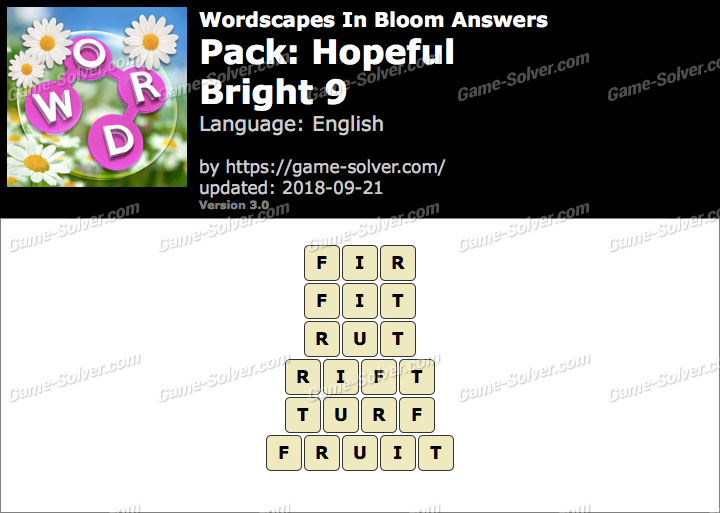 Wordscapes In Bloom Hopeful-Bright 9 Answers