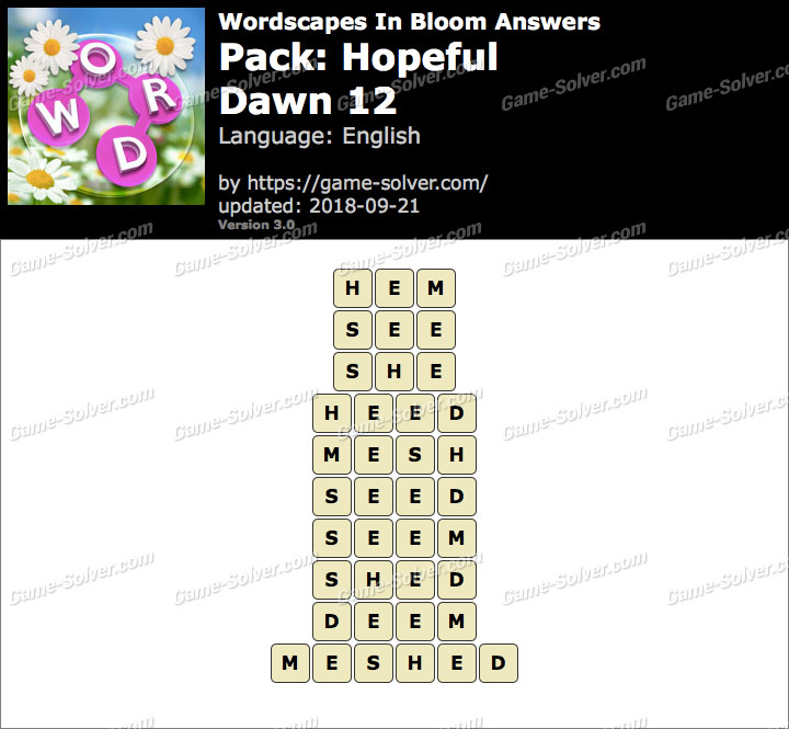 Wordscapes In Bloom Hopeful-Dawn 12 Answers