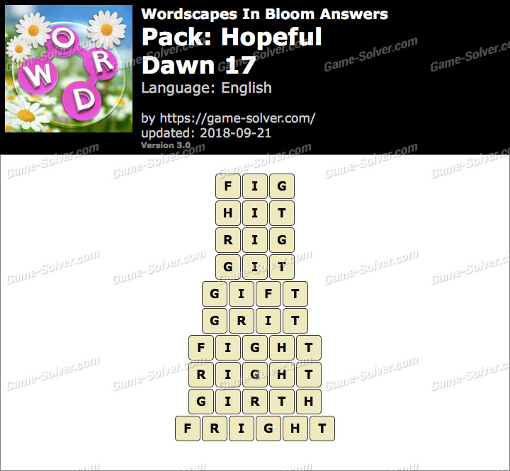 Wordscapes In Bloom Hopeful-Dawn 17 Answers