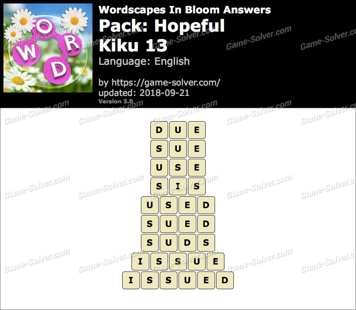 Wordscapes In Bloom Hopeful-Kiku 13 Answers