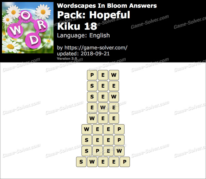 Wordscapes In Bloom Hopeful-Kiku 18 Answers