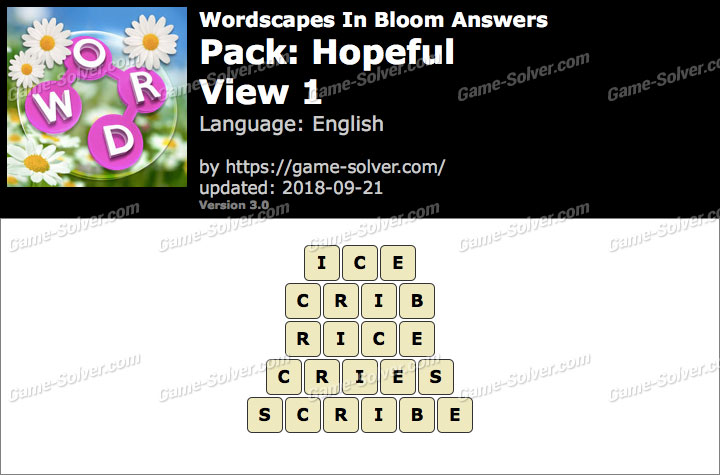 Wordscapes In Bloom Hopeful-View 1 Answers