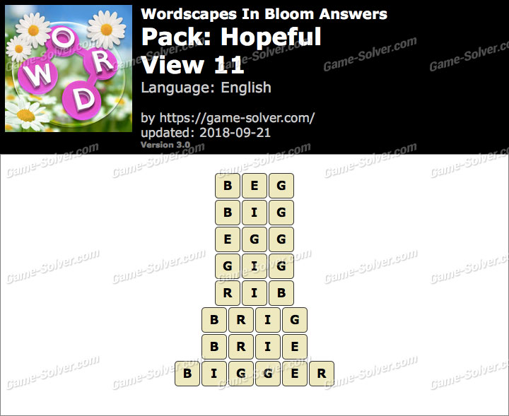 Wordscapes In Bloom Hopeful-View 11 Answers