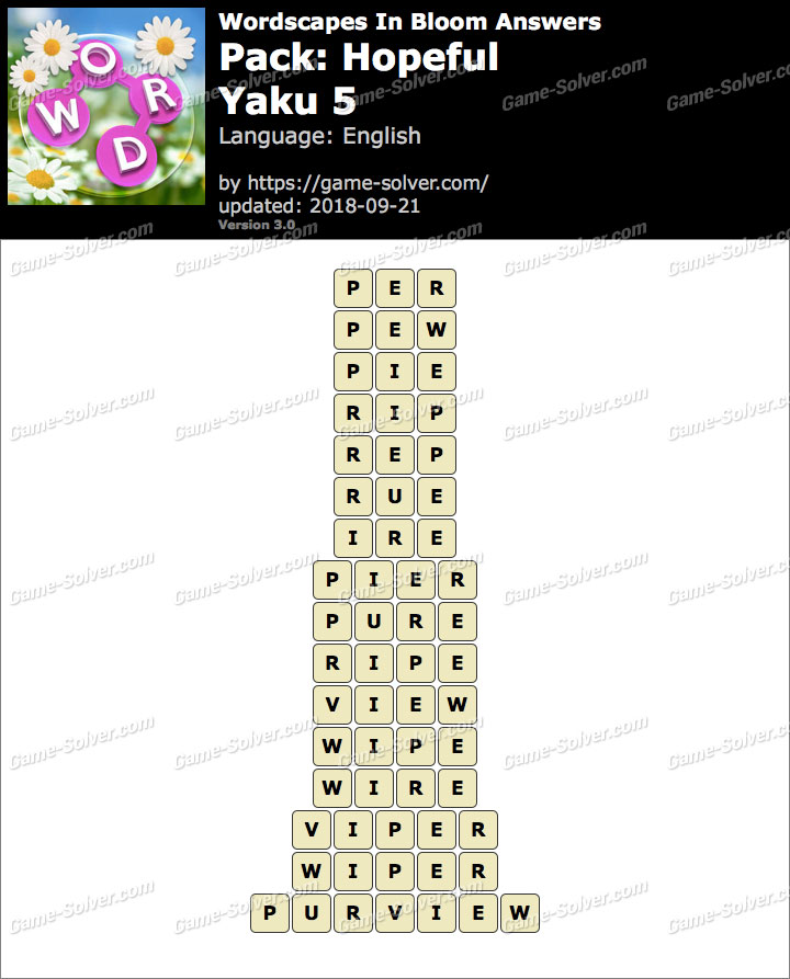 Wordscapes In Bloom Hopeful-Yaku 5 Answers