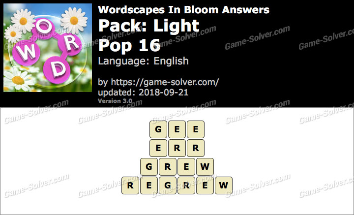 Wordscapes In Bloom Light-Pop 16 Answers