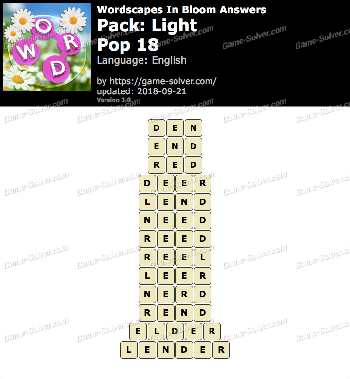 Wordscapes In Bloom Light-Pop 18 Answers