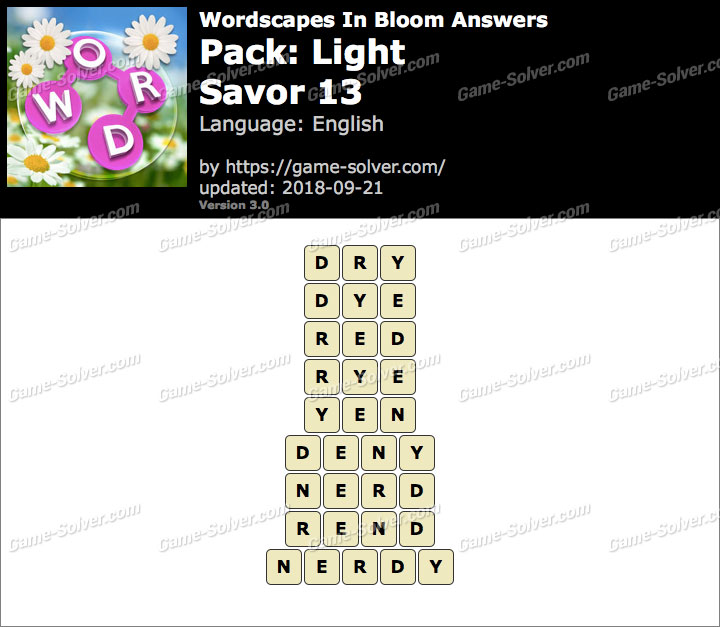 Wordscapes In Bloom Light-Savor 13 Answers