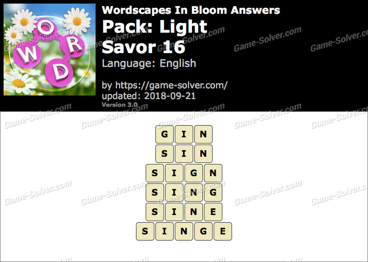 Wordscapes In Bloom Light-Savor 16 Answers