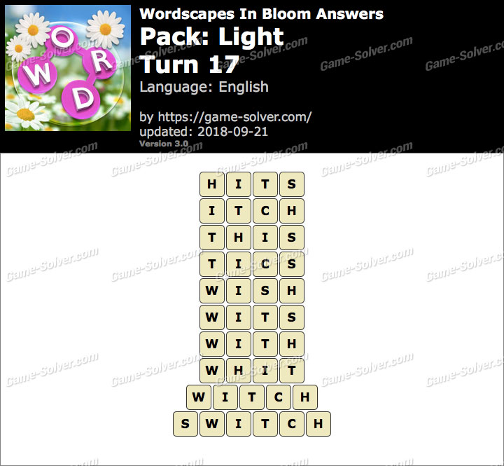 Wordscapes In Bloom Light-Turn 17 Answers