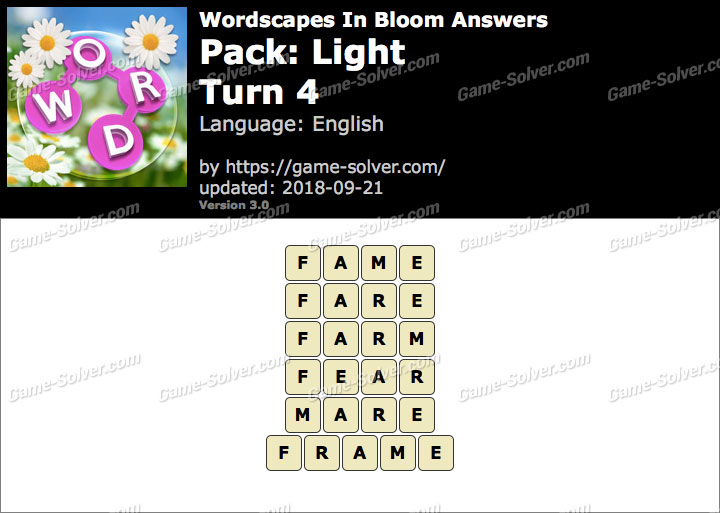 Wordscapes In Bloom Light-Turn 4 Answers