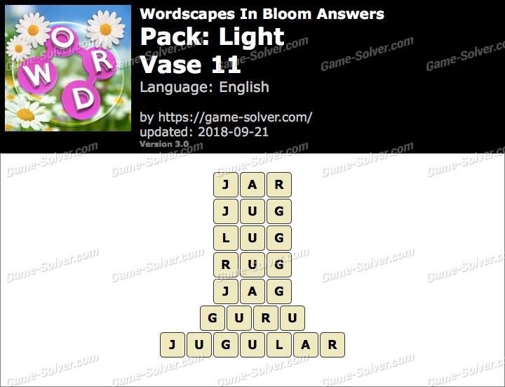 Wordscapes In Bloom Light-Vase 11 Answers