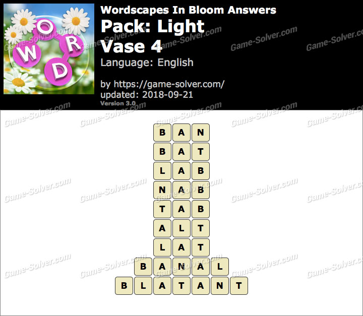 Wordscapes In Bloom Light-Vase 4 Answers