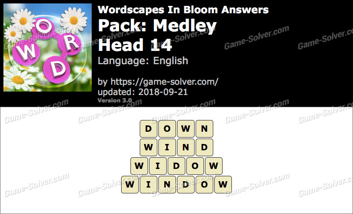 Wordscapes In Bloom Medley-Head 14 Answers