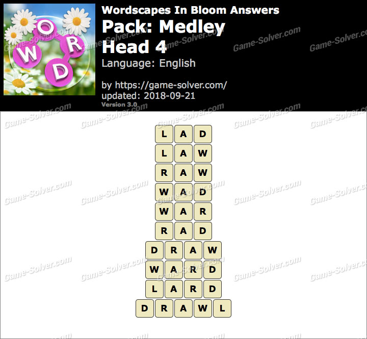Wordscapes In Bloom Medley-Head 4 Answers
