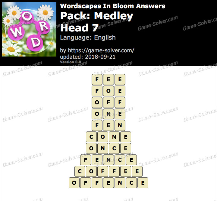 Wordscapes In Bloom Medley-Head 7 Answers