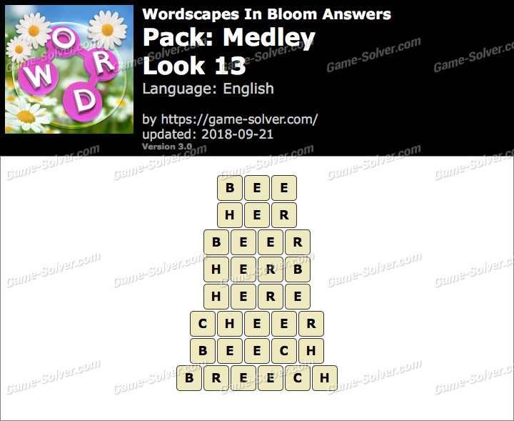Wordscapes In Bloom Medley-Look 13 Answers