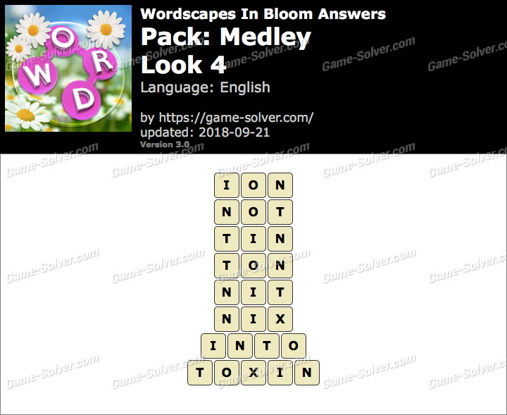 Wordscapes In Bloom Medley-Look 4 Answers