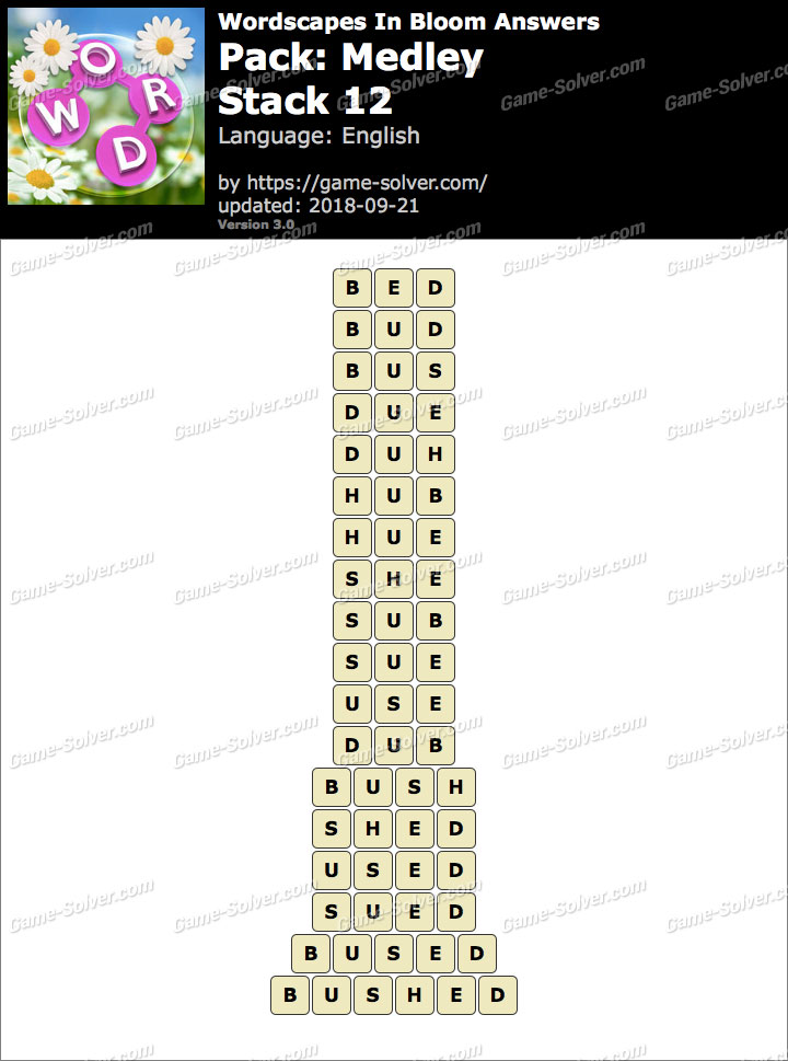 Wordscapes In Bloom Medley-Stack 12 Answers